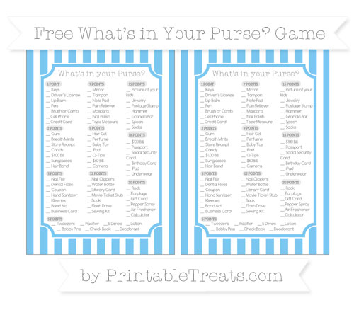 Free Pastel Light Blue Striped What's in Your Purse Baby Shower Game