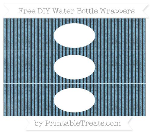 Free Pastel Light Blue Thin Striped Pattern Chalk Style DIY Water Bottle Wrappers