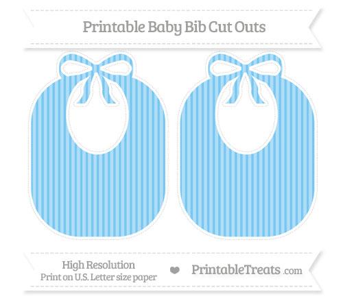 Free Pastel Light Blue Thin Striped Pattern Large Baby Bib Cut Outs