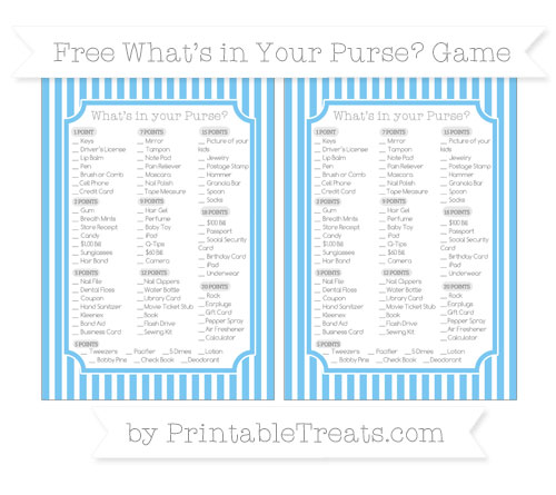 Free Pastel Light Blue Thin Striped Pattern What's in Your Purse Baby Shower Game