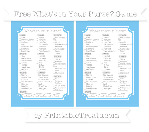 Free Pastel Light Blue What's in Your Purse Baby Shower Game