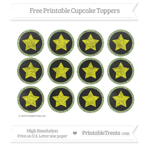 Free Pastel Light Green Chalk Style Star Theme Cupcake Toppers