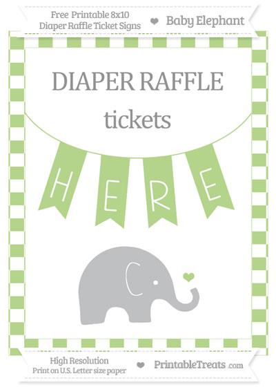 Free Pastel Light Green Checker Pattern Baby Elephant 8x10 Diaper Raffle Ticket Sign