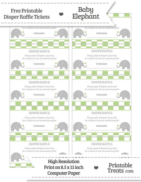 Free Pastel Light Green Checker Pattern Baby Elephant Diaper Raffle Tickets