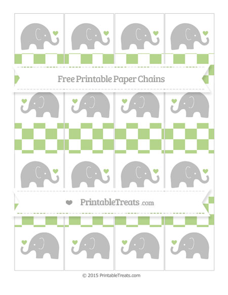 Free Pastel Light Green Checker Pattern Baby Elephant Paper Chains