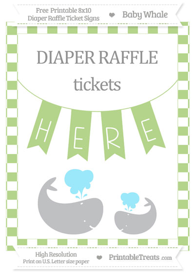 Free Pastel Light Green Checker Pattern Baby Whale 8x10 Diaper Raffle Ticket Sign