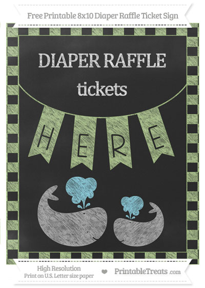 Free Pastel Light Green Checker Pattern Chalk Style Baby Whale 8x10 Diaper Raffle Ticket Sign