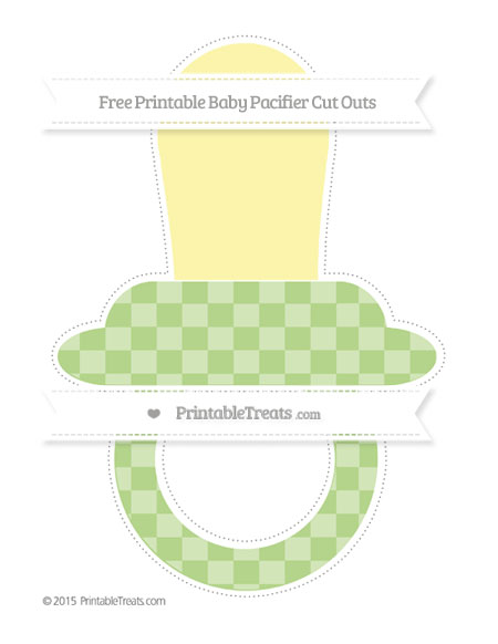 Free Pastel Light Green Checker Pattern Extra Large Baby Pacifier Cut Outs