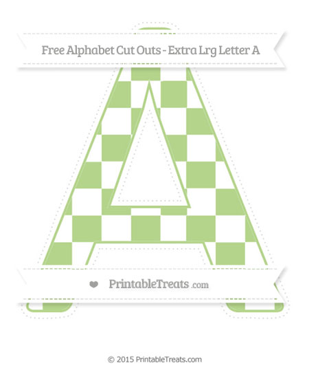 Free Pastel Light Green Checker Pattern Extra Large Capital Letter A Cut Outs