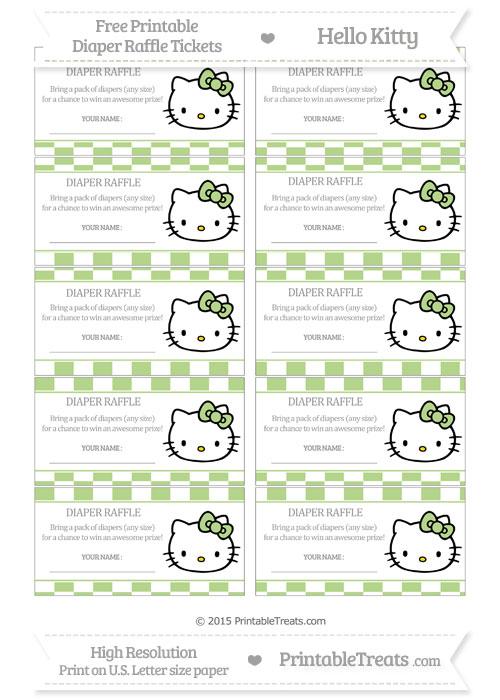 Free Pastel Light Green Checker Pattern Hello Kitty Diaper Raffle Tickets
