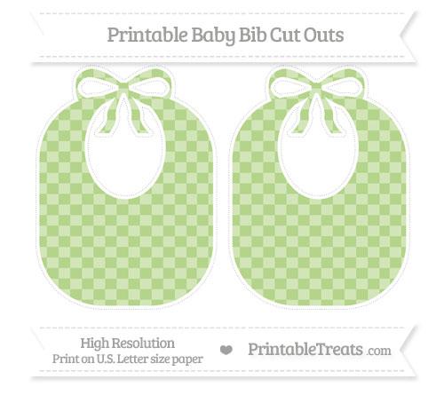 Free Pastel Light Green Checker Pattern Large Baby Bib Cut Outs
