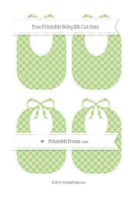 Free Pastel Light Green Checker Pattern Medium Baby Bib Cut Outs
