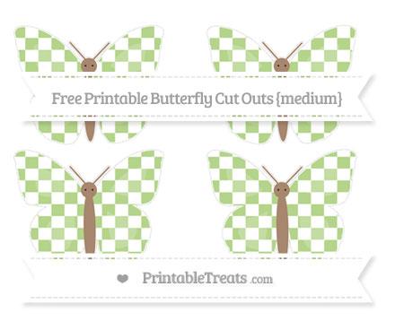 Free Pastel Light Green Checker Pattern Medium Butterfly Cut Outs