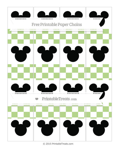 Free Pastel Light Green Checker Pattern Mickey Mouse Paper Chains