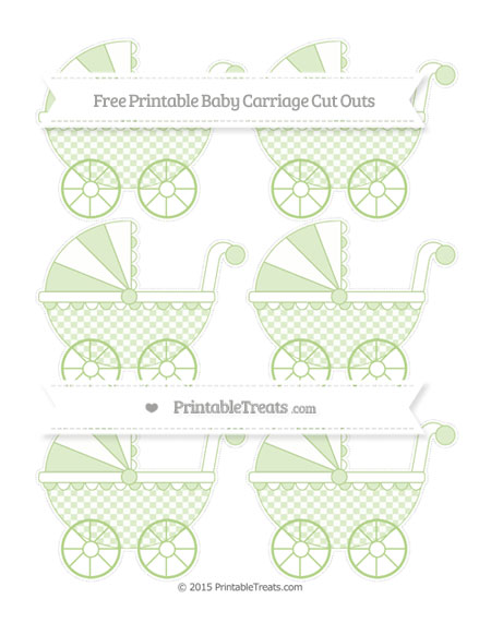Free Pastel Light Green Checker Pattern Small Baby Carriage Cut Outs
