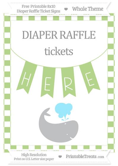 Free Pastel Light Green Checker Pattern Whale 8x10 Diaper Raffle Ticket Sign