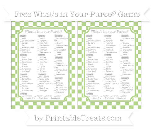 Free Pastel Light Green Checker Pattern What's in Your Purse Baby Shower Game