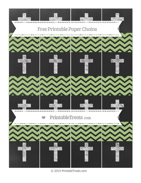Free Pastel Light Green Chevron Chalk Style Cross Paper Chains