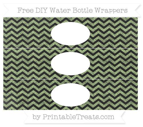 Free Pastel Light Green Chevron Chalk Style DIY Water Bottle Wrappers