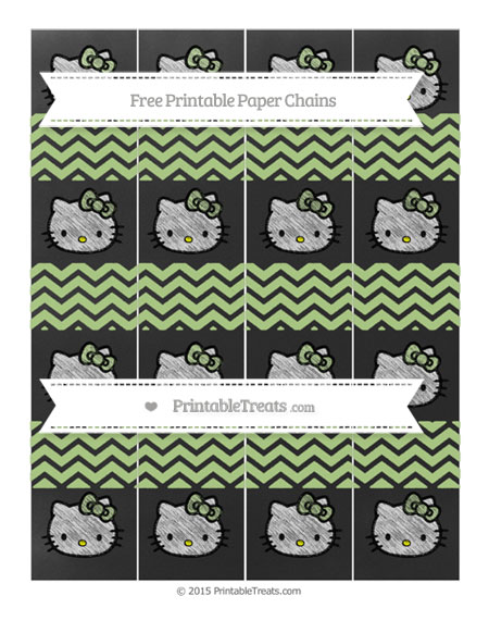 Free Pastel Light Green Chevron Chalk Style Hello Kitty Paper Chains