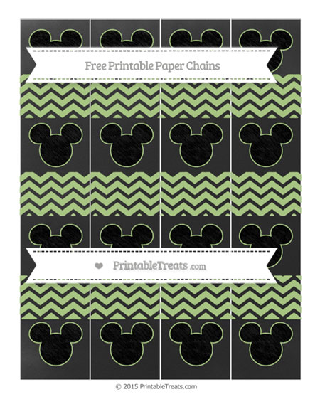 Free Pastel Light Green Chevron Chalk Style Mickey Mouse Paper Chains