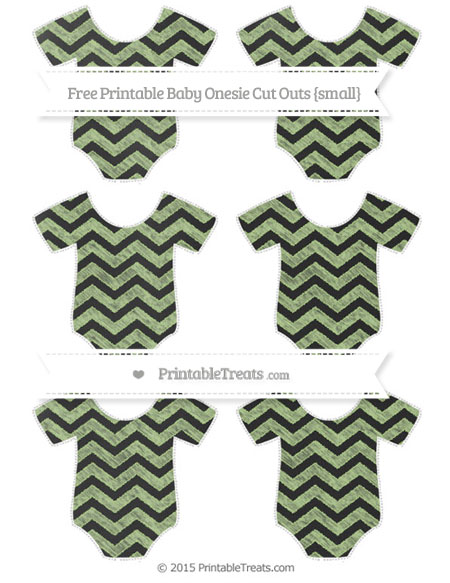 Free Pastel Light Green Chevron Chalk Style Small Baby Onesie Cut Outs
