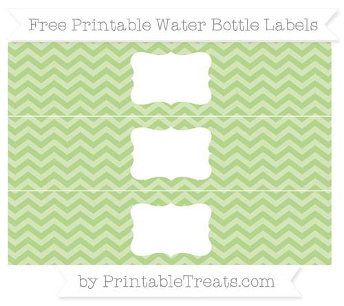 Free Pastel Light Green Chevron Water Bottle Labels