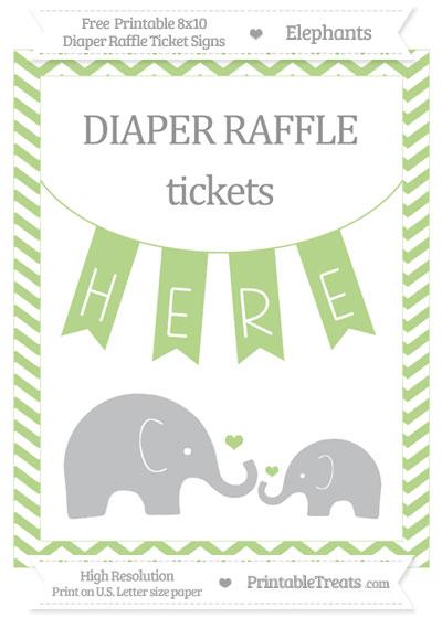 Free Pastel Light Green Chevron Elephant 8x10 Diaper Raffle Ticket Sign