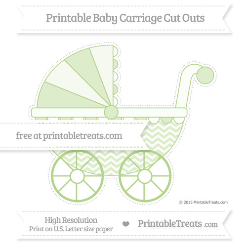 Free Pastel Light Green Chevron Extra Large Baby Carriage Cut Outs