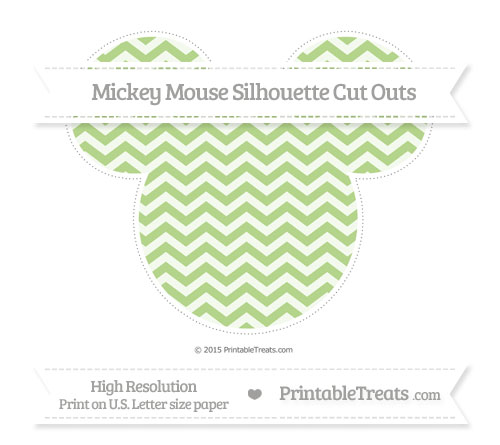 Free Pastel Light Green Chevron Extra Large Mickey Mouse Silhouette Cut Outs