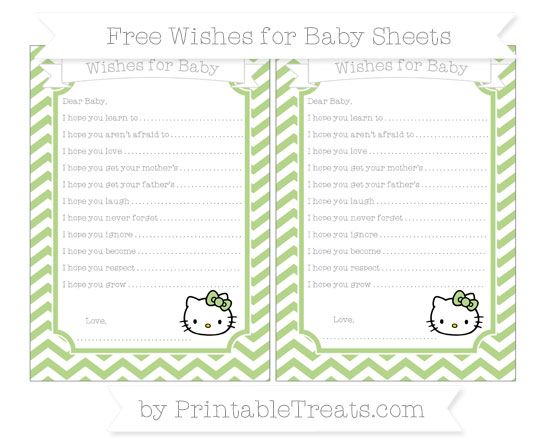 Free Pastel Light Green Chevron Hello Kitty Wishes for Baby Sheets