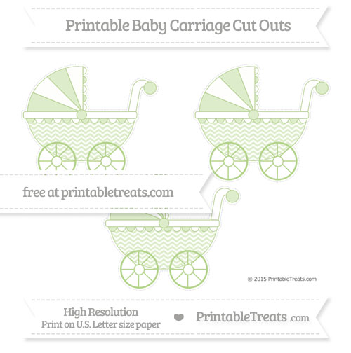 Free Pastel Light Green Chevron Medium Baby Carriage Cut Outs