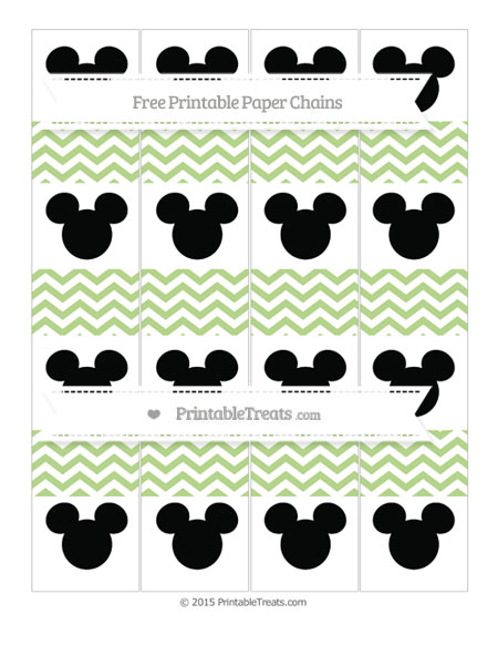 Free Pastel Light Green Chevron Mickey Mouse Paper Chains