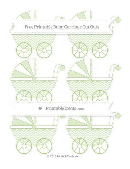 Free Pastel Light Green Chevron Small Baby Carriage Cut Outs