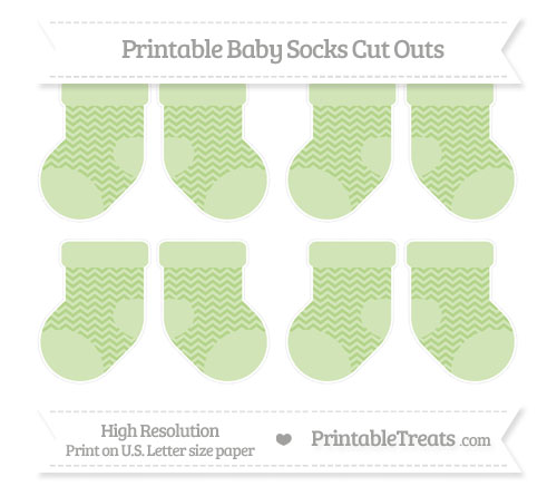 Free Pastel Light Green Chevron Small Baby Socks Cut Outs