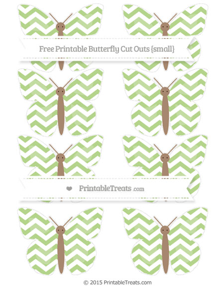 Free Pastel Light Green Chevron Small Butterfly Cut Outs