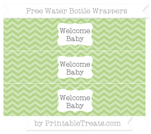 Free Pastel Light Green Chevron Welcome Baby Water Bottle Wrappers