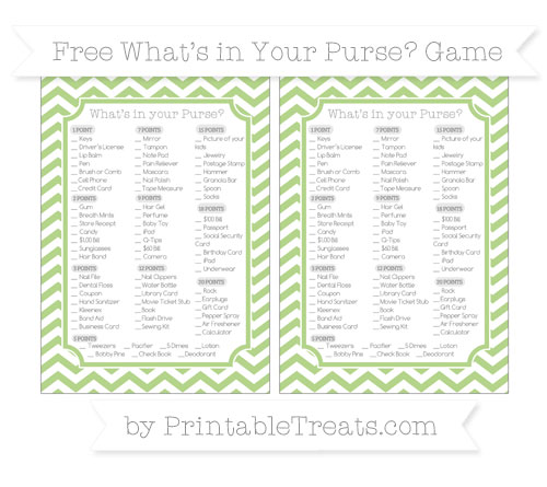 Free Pastel Light Green Chevron What's in Your Purse Baby Shower Game