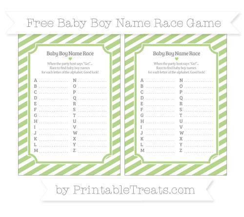 Free Pastel Light Green Diagonal Striped Baby Boy Name Race Game