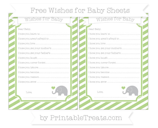 Free Pastel Light Green Diagonal Striped Baby Elephant Wishes for Baby Sheets