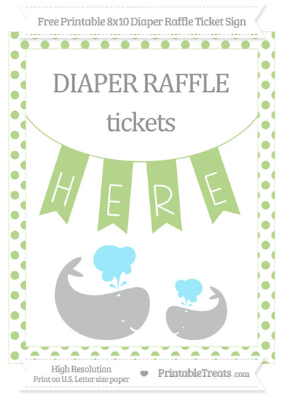 Free Pastel Light Green Dotted Baby Whale 8x10 Diaper Raffle Ticket Sign