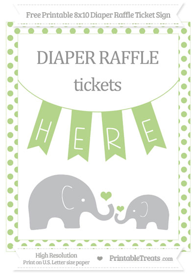 Free Pastel Light Green Dotted Elephant 8x10 Diaper Raffle Ticket Sign