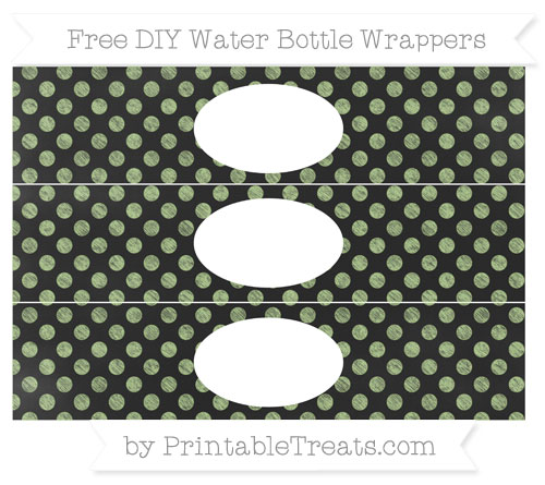 Free Pastel Light Green Dotted Pattern Chalk Style DIY Water Bottle Wrappers