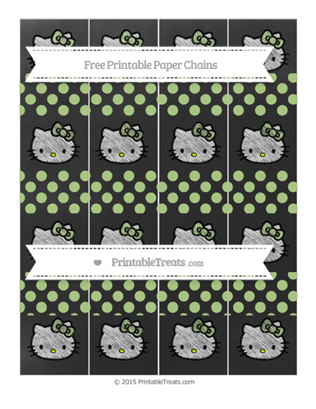 Free Pastel Light Green Dotted Pattern Chalk Style Hello Kitty Paper Chains