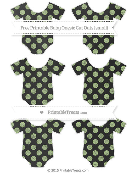 Free Pastel Light Green Dotted Pattern Chalk Style Small Baby Onesie Cut Outs