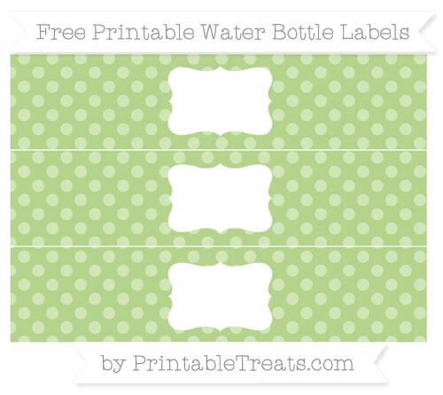 Free Pastel Light Green Dotted Pattern Water Bottle Labels