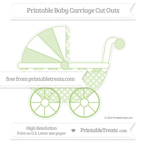 Free Pastel Light Green Dotted Pattern Extra Large Baby Carriage Cut Outs