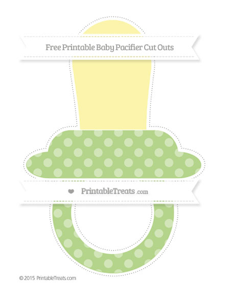 Free Pastel Light Green Dotted Pattern Extra Large Baby Pacifier Cut Outs