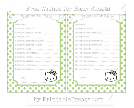Free Pastel Light Green Dotted Pattern Hello Kitty Wishes for Baby Sheets