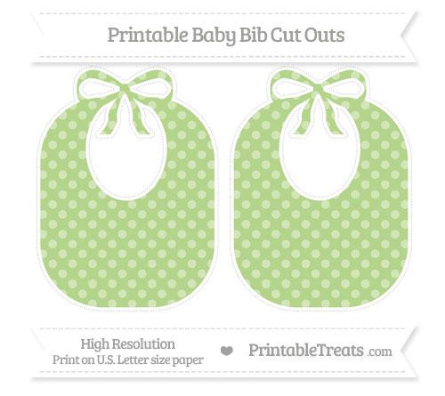 Free Pastel Light Green Dotted Pattern Large Baby Bib Cut Outs